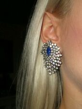 "Vintage Earrings rhinestone Crystal sapphire large prong set pierced 2"" #pageant"