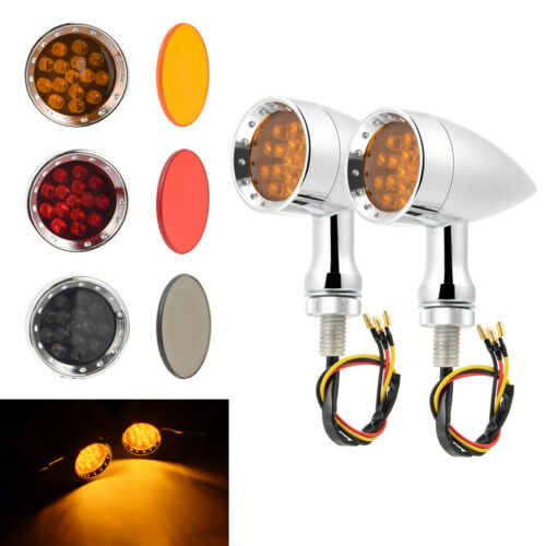 Chrome Mini Bullet LED Turn Signal Amber Light Indicator Fit For Harley Chopper