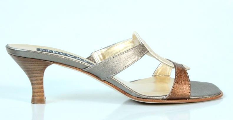 Nuevo    298 cuero metálico Prevata  Carla 'diapositivas Mulas Zapatos Puntera Abierta-Italia  descuento de bajo precio