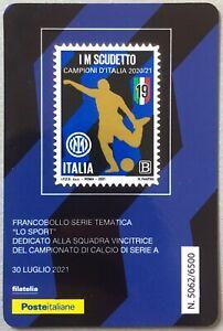 ITALIA INTER 2020 2021 I M SCUDETTO CALCIO TESSERA FILATELICA FRANCOBOLLO