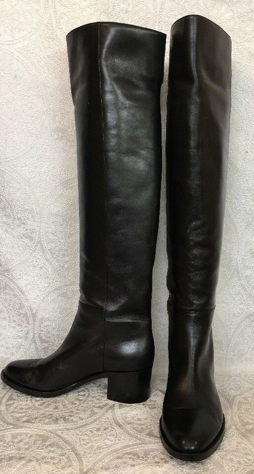 Gianvito Rossi Over The Knee Boot Black Leather Size 39 1/2