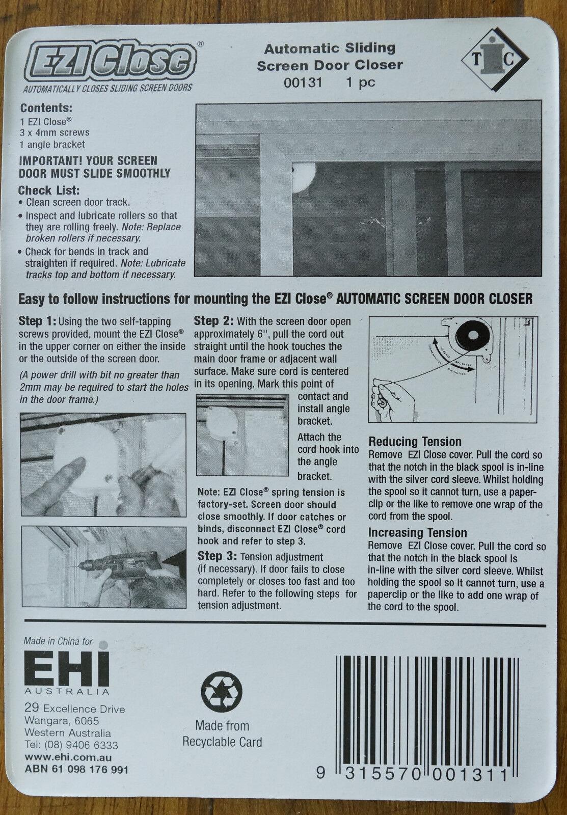 Ezi Close Compact Sliding Screen Door Closer Ebay