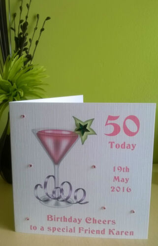 """Cocktail Birthday Card Personalised 6/"""" Friend Wife Daughter Sister 21 30 40 50"""