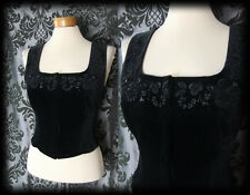 Goth Black Velvet Bead Detail VENOMOUS Corset Panel Top 10 12 Victorian Vintage