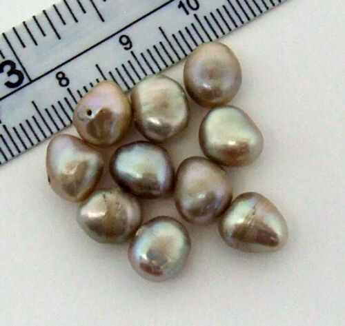 Lot 10 7mm-9mm Caramel Freshwater Flat-Sided Potato Irregular Pearls Loose Bead