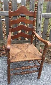 Antique Ladder Back Arm Chair Rush Seat Sturdy Walnut Turned Legs