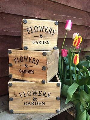 Square Vintage Wooden Planter Herbs Bulbs Garden Plants Flowers Storage Box