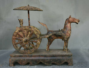 "12.6 ""Dynastie Chinoise Bronze Ware Ancienne Statue de Tramway Officiel à Cheval"