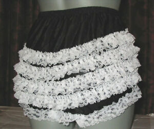 SHEER CHIFFON SISSY FRILLY  DANCE PANTIES XL BLACK  waist-41 inches