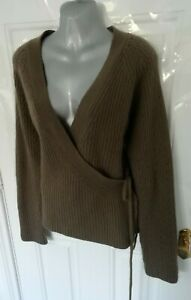 LAURA-ASHLEY-Size-14-16-L-Beige-Brown-Wrap-Cardigan-Lambswool-Angora-Blend