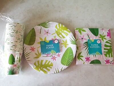Diseño Tropical Verano Fiesta Cóctel Tazas Platos Servilletas de Papel 24 Pack Set