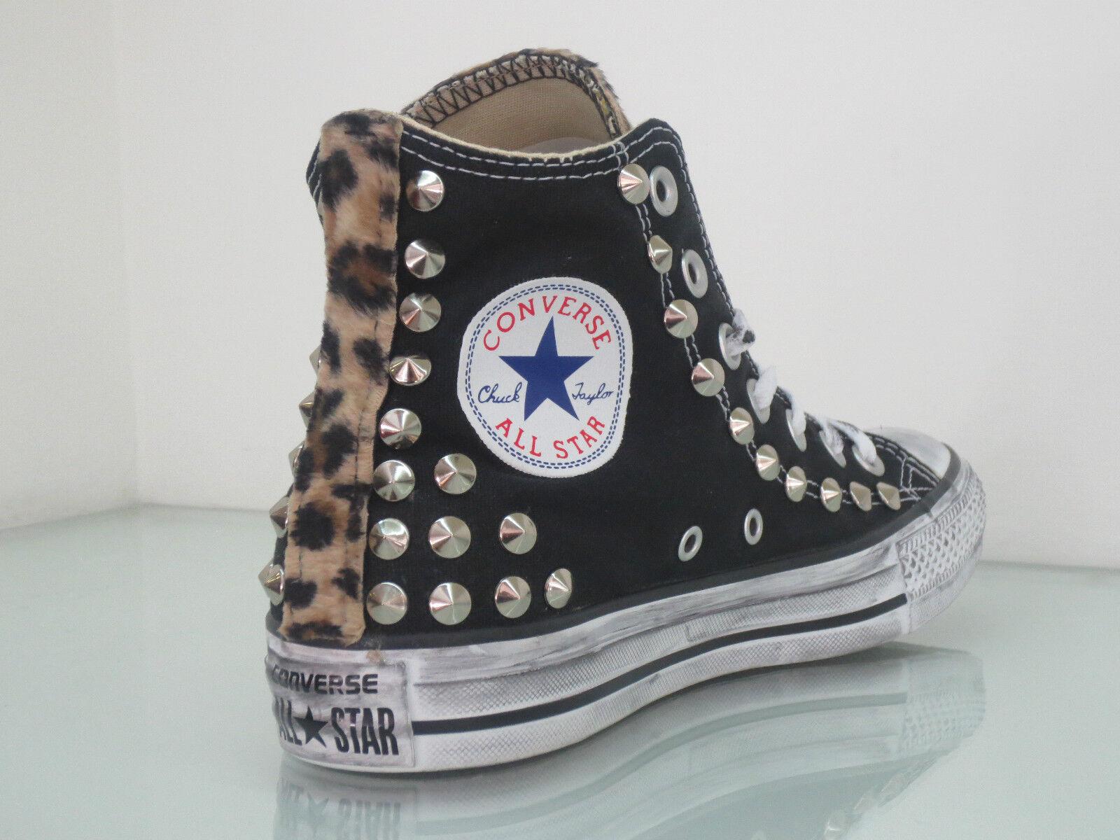 Nuevos zapatos para hombres y mujeres, descuento por tiempo limitado Converse all star Hi borchie argento black nero maculato cavallino ARTIGIANALI