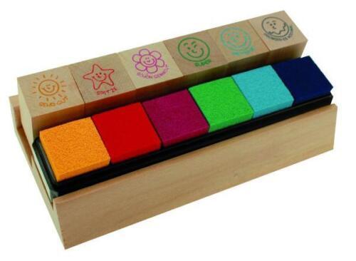 Lehrerstempel Set Holz 6 Stempel mit Kissen in Packung Lehrer Motivationstempel