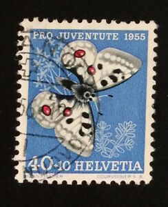 Schweiz-034-Pro-Juventute-Schmetterling-1955-034-Mi-622-gestempelt-o-A139
