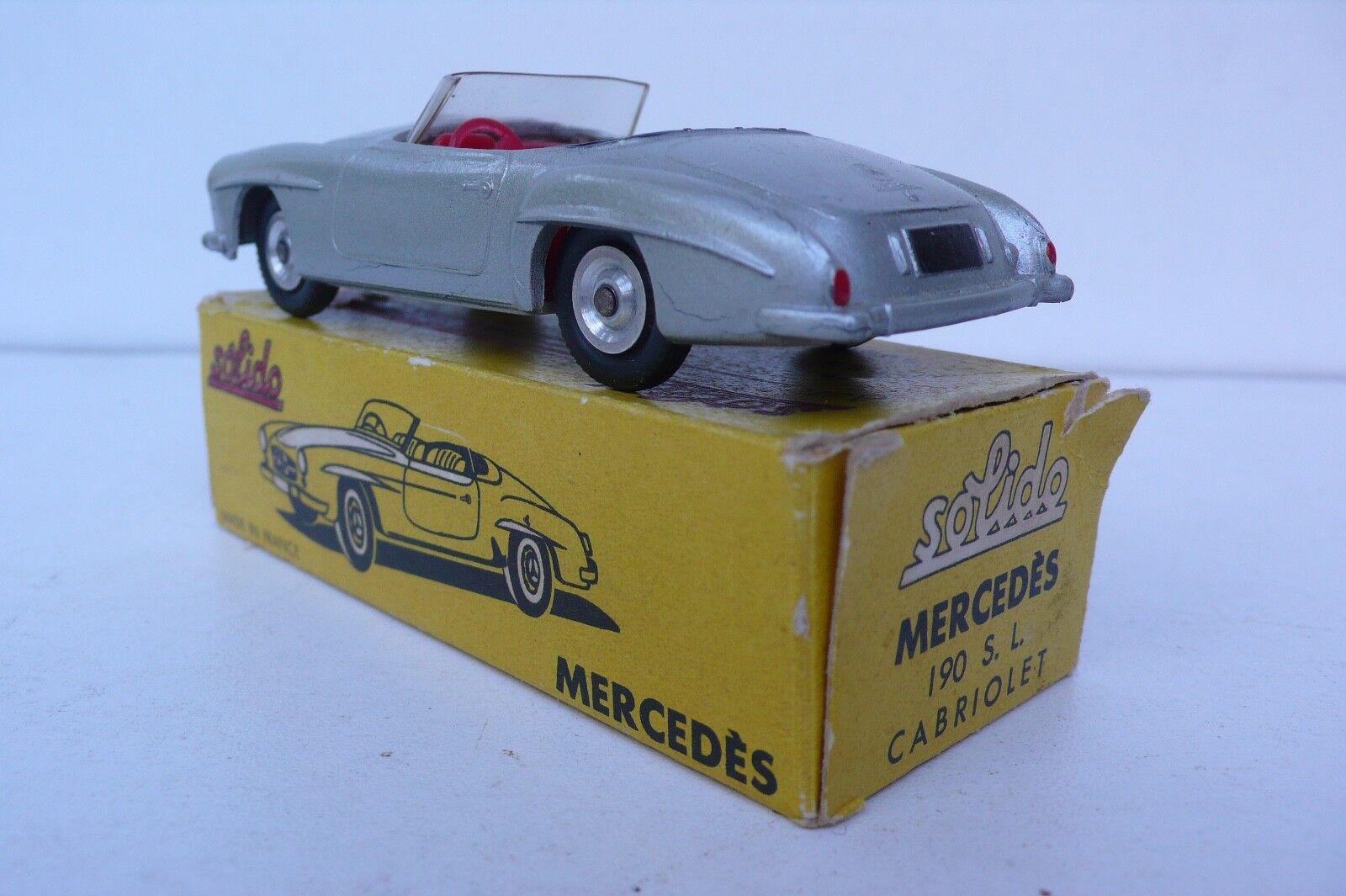 SOLIDO  SÉRIE 100     MERCÉDES 190 SL  REF 105  1958   BON ÉTAT  BOITE D'O   Beau Design  7541de