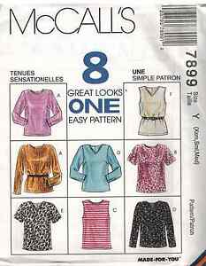 7899-UNCUT-Vintage-McCalls-SEWING-Pattern-Pullover-Tops-Shirt-OOP-FF-NEW