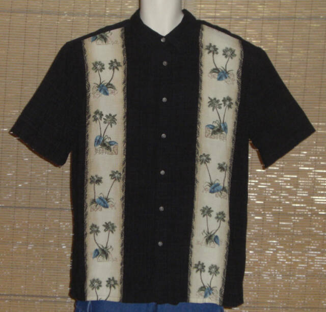 Island Shores Hawaiian Shirt Black White Green Blue Palm Trees Size XL