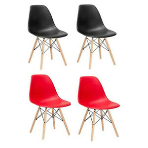 2-RED-BLACK-EIFFEL-PLASTIC-SHELL-DINING-SIDE-CHAIRS-WOOD-DOWEL-LEGS-EAMES-STYLE