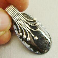 Semi-Precious DENDRITIC OPAL Gemstone 925 Sterling Silver Pendant - A68