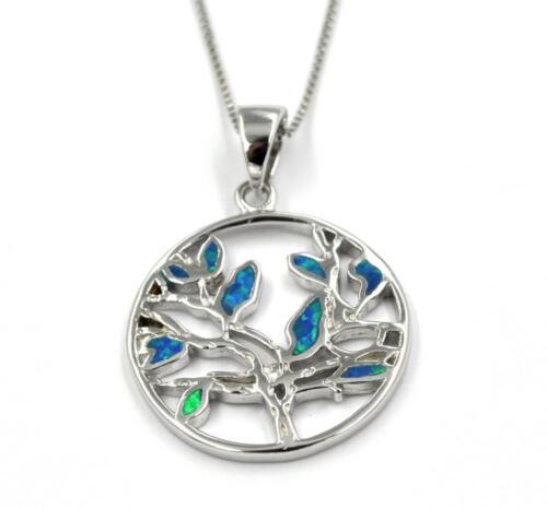 Anhänger Kette Silberkette Halskette Opal blau Schmuck BAUM 925 Sterling Silber