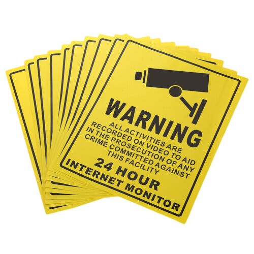10 Stück Self Adhesive Videoüberwachung Aufkleber Warnschild Aufkleber