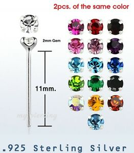 2pcs-22g-2mm-Round-CZ-Prong-Set-925-Sterling-Silver-Straight-Nose-Ring-Stud