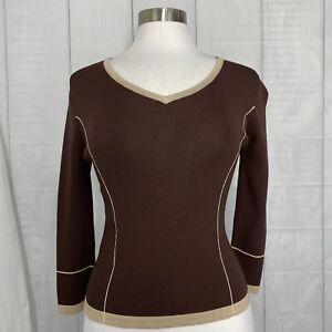 Finity Women's Small Knit Top Brown Beige Tan Trim 3/4 Sleeve #K