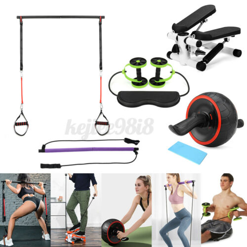 Gym Ab Roller Wheel Pilates Bar Stick Exercise Fitness Stepper Stair Machine Fit