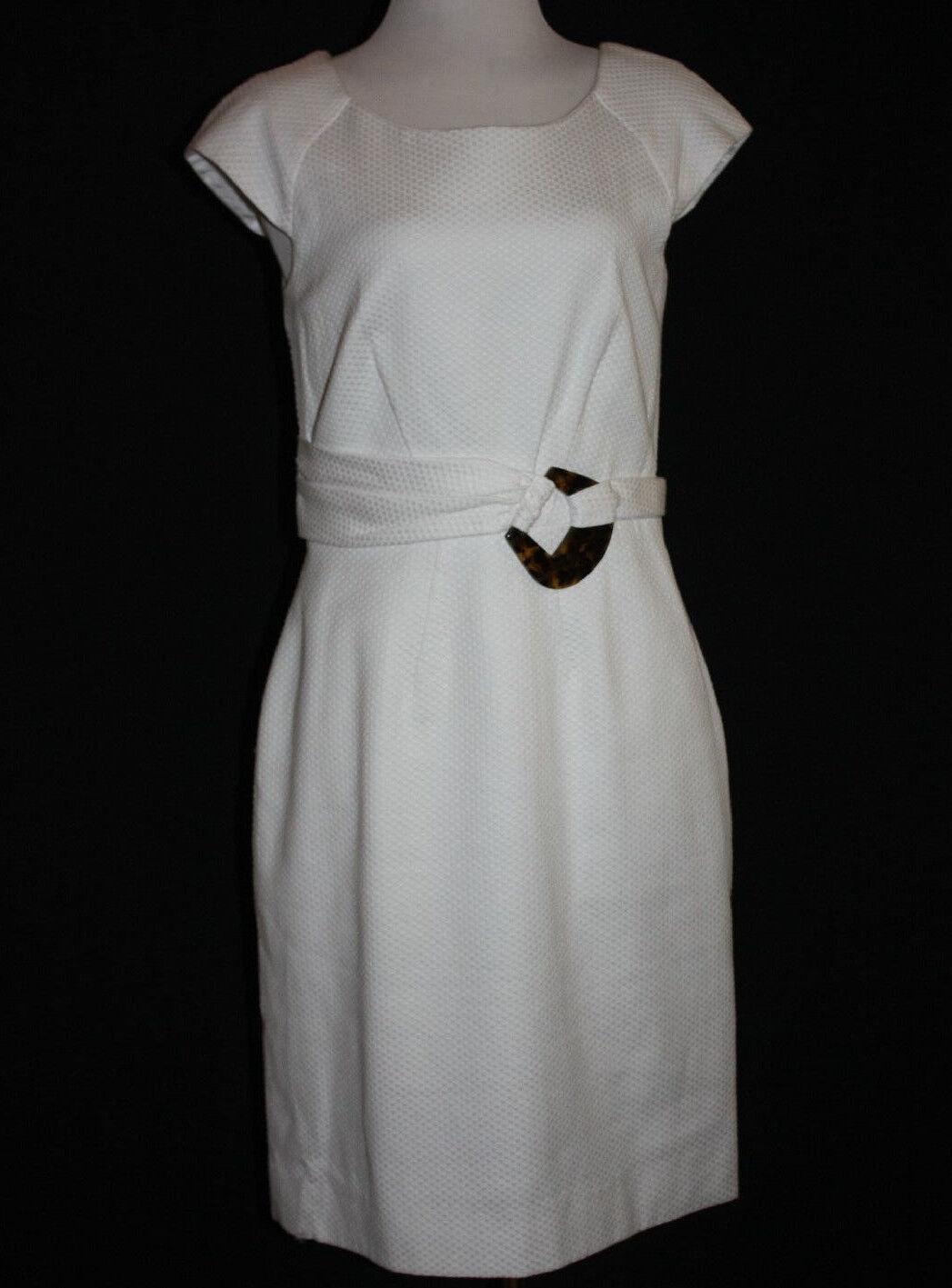 ..BIGIO COLLECTION Women's White Cotton Stretch Lined Cap Sleeve Dress Sz 8