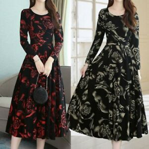 Women-Fashion-Elegant-Knee-Length-O-Neck-Long-Sleeve-Printing-Dress