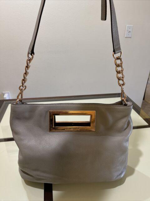 Michael Kors Beige Leather Shoulder Tote Handbag  Rose Gold Chain Purse