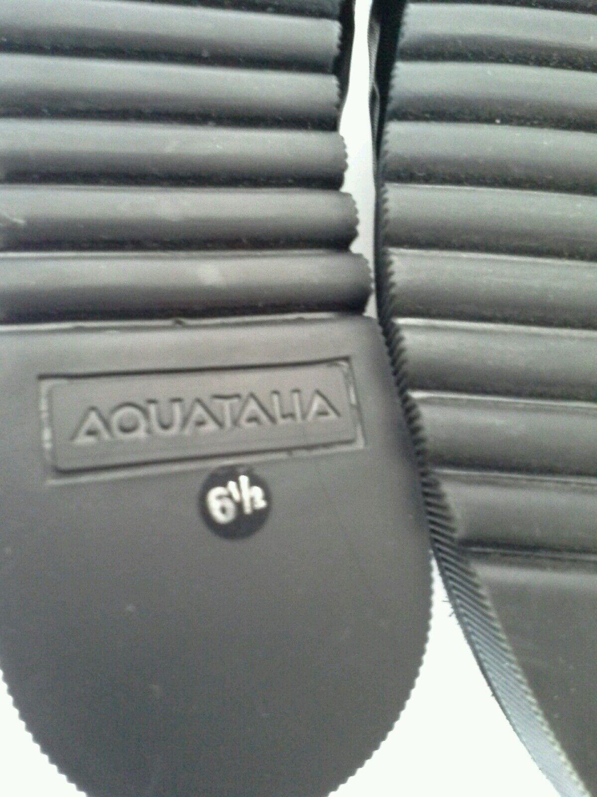 Aquatalia Aida Plataforma Zapatillas De Gamuza Gamuza De Cuero Negro Astilla en relieve Talle 6.5 ed6f97