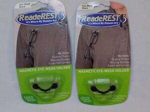 2-ReadeRest-Magnetic-Eyeglass-ID-Badge-Holders-SET-Lot-Eye-Wear-Stainless-Steel