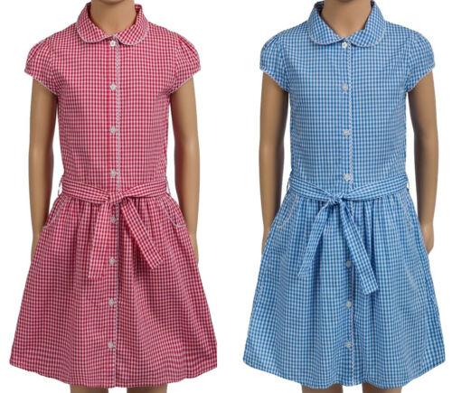Bambina Scuola vestito sottile pizzo con colletto Gingham Check School Uniform 4-12 anni