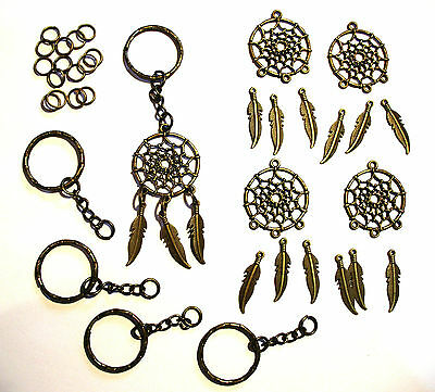 Make Your Own Gifts Dream Catcher Keyrings Kit Antique Bronze Colour MAKES 5