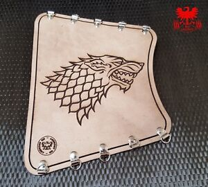 Stark Black KG Archery Leather Armguard Bracer Dire Wolf Game of Thrones