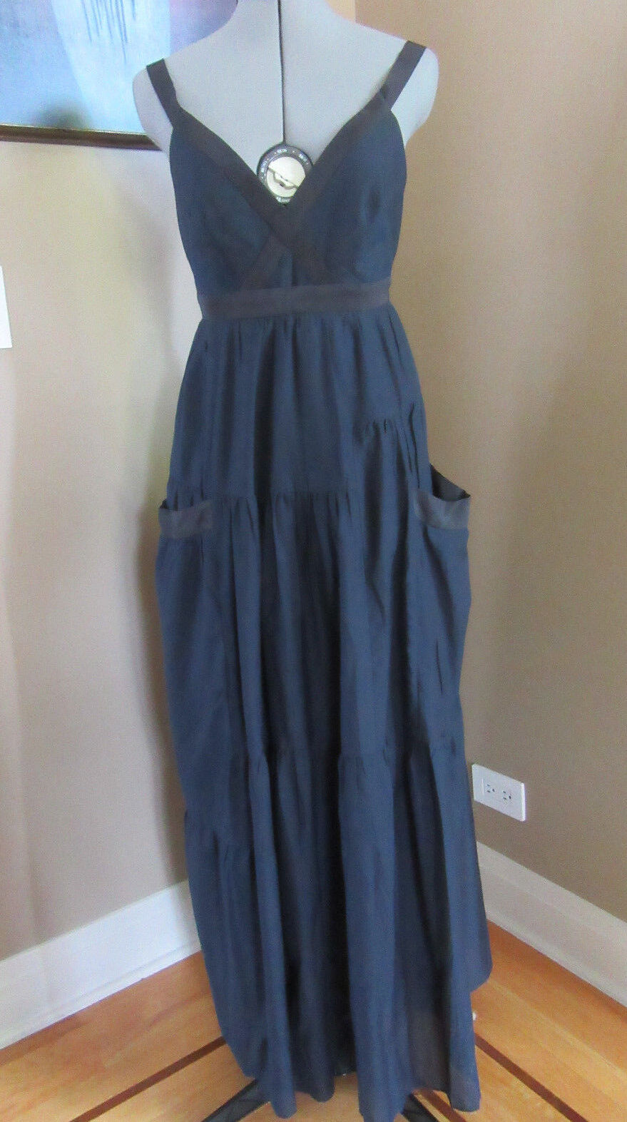 NWT  Marc by Marc Jacobs Tiered Cotton Silk Navy Maxi Dress Size 4