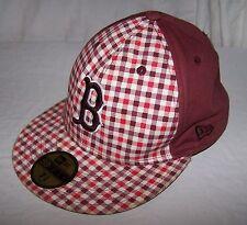 Men's 5222 BOSTON RED SOX 7-5/8 Red Plaid Flat Bill Hat Baseball Cap 59FIFTY