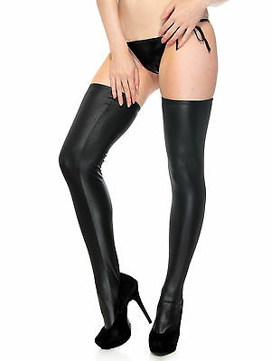 Black Wet Look Sexy High Faux Leather Thigh-high Stockings