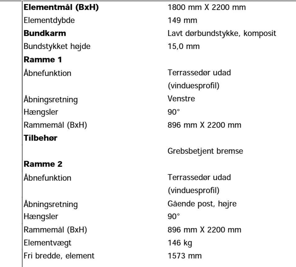 Terrassedør, dobbelt, træ/alu
