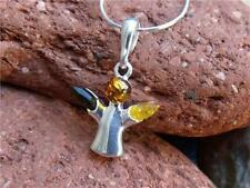 """SMALL ANGEL 925 SILVER BALTIC AMBER PENDANT-16"""" 0.5mm NECKLACE SILVERANDSOUL"""