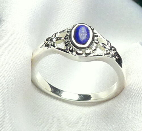 Lapislazuli Ring 925 Silber romantische Design mit Edelstein Cabochon neu