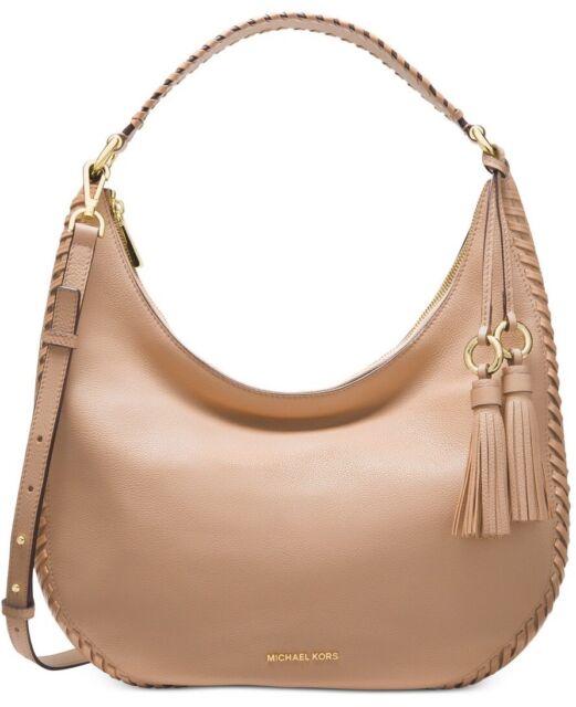 452f1364992a Michael Kors Lauryn Large MK Signature Tassel Shoulder Bag Natural Fawn
