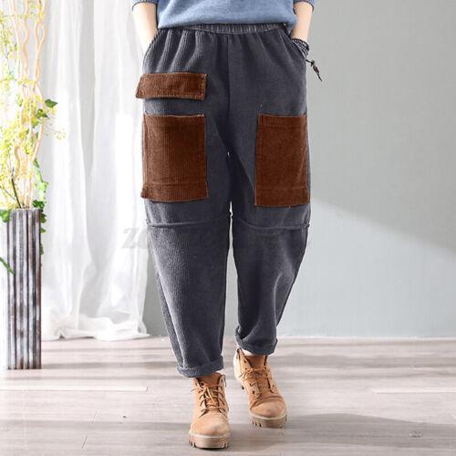 ZANZEA UK Womens Casual Loose Corduroy Trousers Baggy Pull-On Chino Harem Pants