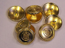 8pc 15mm Italian Inspired Bright Gold Metal Military Blazer Button 2159