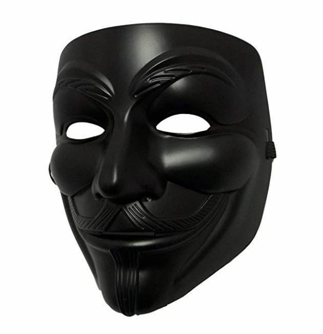 Black V For Vendetta Anonymous Film Guy Fawkes Face Mask Halloween