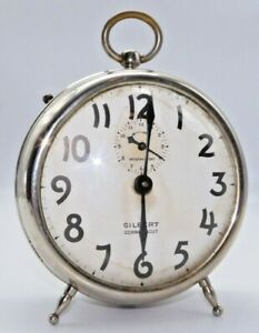 RARE-Antique-Gilbert-034-Thinlarm-034-Dresser-Alarm-Clock-Working