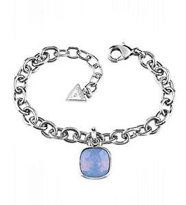 Guess-ubb61053-Brazalete-Pulsera-Color-Plata-Cristal-Azul-Nuevo