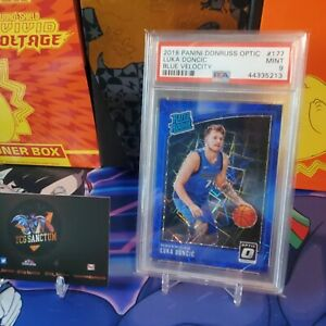 2018-19 Panini Donruss Optic Luka Doncic Blue Velocity RC Rookie PSA 9 Mint Card