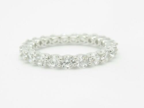 Platinum Sterling Silver White Sapphire Round 3mm Wide Eternity Band Ring Size 8